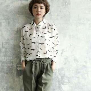 [二手]正韓 Daisydays DD 好質感蝙蝠圖案雪紡襯衫 白色 #冬季衣櫃出清