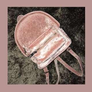Forever 21 crushed velvet mini backpack