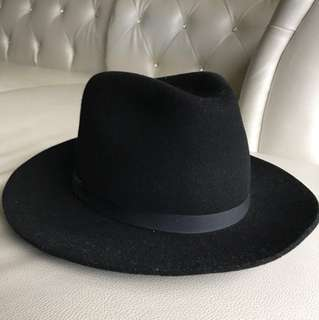 New York Hatco 黑色三凹長簷紳士帽 美製 size s