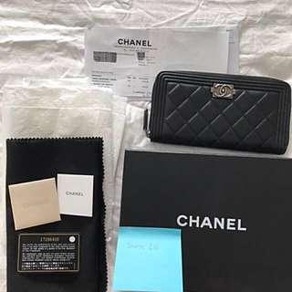 Chanel Lambskin Boy Wallet Rare Black with Ruthenium HW Free Posting