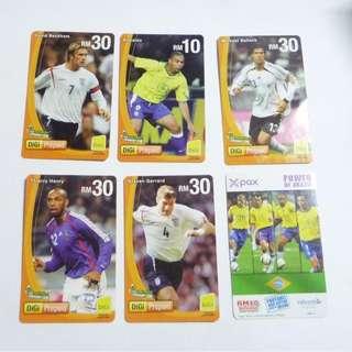 Collectable Malaysia Phone Cards Kadfon Digi 2006 World Cup Beckham Ronaldo Henry Ballack Gerard and X-Pax Brazil