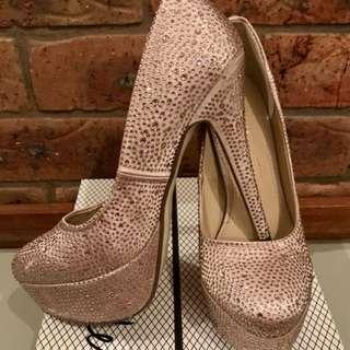 Verali Heels | Champagne Satin W Diamonds | Size 8