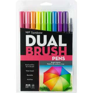 (Special Price) Tombow Dual Brush Pen Set, Bright 10C