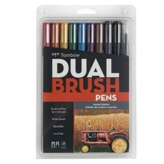 (Special Price) Tombow Dual Brush Pen Set, Muted 10C