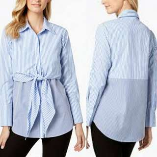 NY Collection Poplin Mixed Stripe Tie-Front Top
