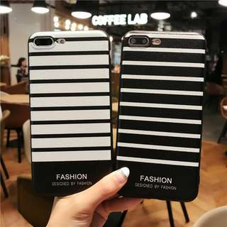 PO ! Black and White Strips soft case iphone 5 - 8+