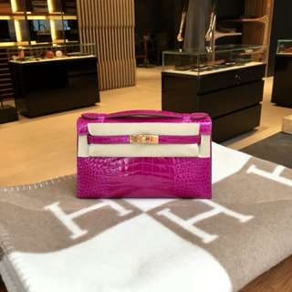 Hermes Kelly mini shiny alligator J5 Ghw