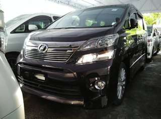 Vellfire 2.4 year 2012 unreg 7 seat,wasap me 018 2448757 trade in accepted