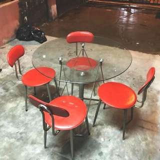 Tempered glass table + 4 chairs set