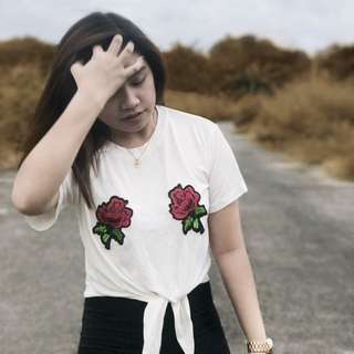 Roses Tie Knot Shirt in White