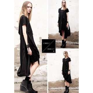 黑色長版上衣洋裝,可多種穿法