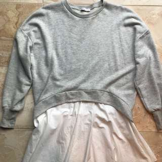 ZARA LOOSE CASUAL DRESS WITH GREY CREW NECK JUMPER LONG SLEEVE