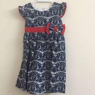 New cotton dark blue dress