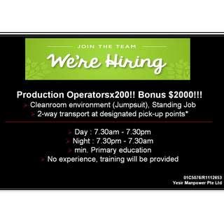 Hiring Production Operator @ Tampines!!!