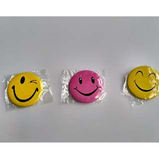 3 Smiley Round Button Badges - Good as service pins & rewards for children. Free normal postage