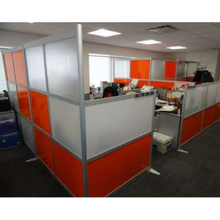OFFICE PARTITION GLASS AND FABRIC--KHOMI