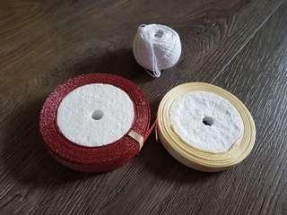 Cream ribbon white string