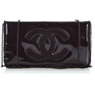 New【CHANEL】專櫃贈品黑色漆皮斜咩袋/手提包 Clutch 連鐵鍊肩帶