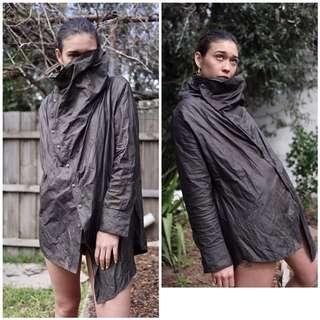 COMMA, olive draped jacket