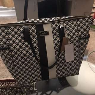 NWT Kate Spade Black and White Baby Bag with changing pad