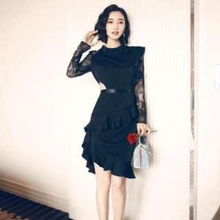 Black lace sleeves ruffle skirt elegant dress