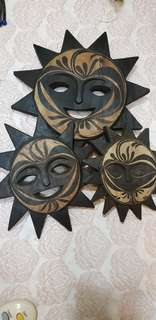 Palawan Wood Carving Sun Faces