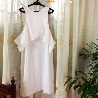 Zalora White Cold - Shoulder Dress w/ Zalora Bag