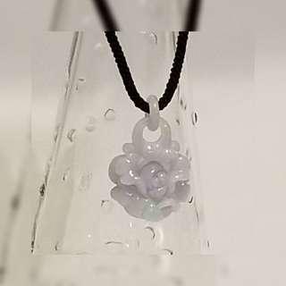 天然A貨 緬甸玉 紫羅蘭富貴花三連環扣 厚裝 雕件 吊墜 一件 JP~1