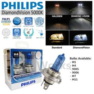 Philips Diamond Vision 5000k White Light Bulbs, Pair