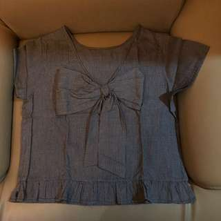 Semi Crop Bow Shirt