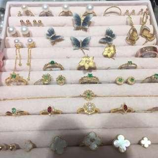 珠寶 祖母綠 紅寶 珍珠 18k金 耳環 戒指 請圈圖