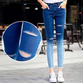 韓流時尚✨修身顯瘦百搭破洞小腳牛仔褲(25~32腰)
