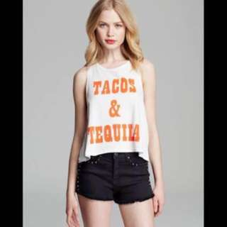 Minkpink Tank Tacos and Tequila Crop in White