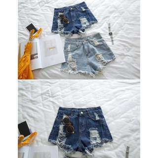 dark denim ripped highwaist shorts