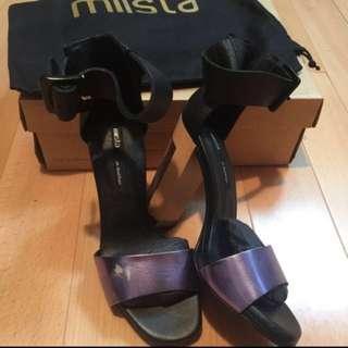 全新Made In Spain Mllsta半透明踭高跟涼鞋