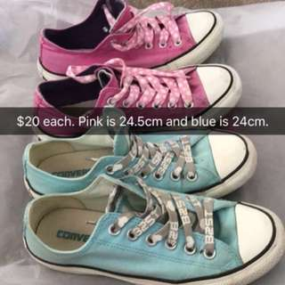 Converse pink and blue sneakers