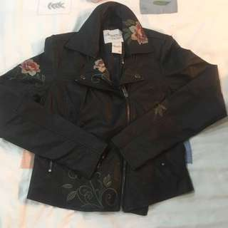 BN American Rag floral embroided black leather biker leather jacket authentic