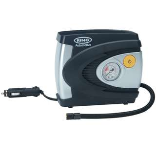 Ring RAC610 Analogue Tyre Inflator, 12V Air Compressor Tyre Pump, 4.5 Min Tyre Inflation, Valve Adaptors