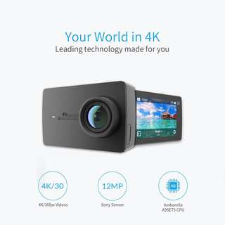 YI 4K Action Camera (Black) with Waterproof Case (Free Screen Protector, Frame Case and Lens Cover) BRAND NEW