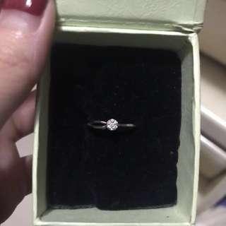 14k白金鑽石戒指