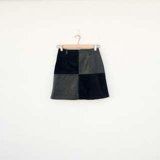 二手 仿皮 條絨 拼接 黑色 微彈性 短裙