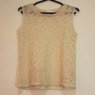 Off White Sleveless Floral Top