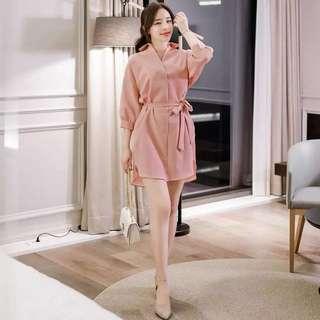 🚚 (特價)韓版女裝新款收腰繫帶連衣裙洋裝