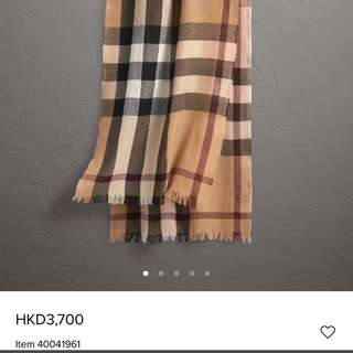 Authentic Burberry lightweight check wool cashmere's scarf