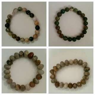Stone crystals beaded UNISEX BRACELET jade brown clear gems