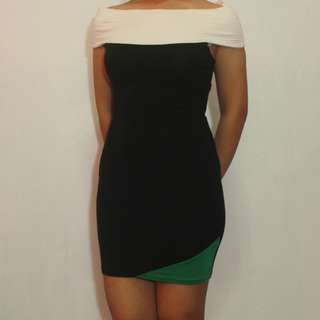 Black and White Bodycon Off Shoulder Dress