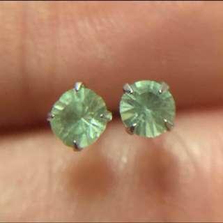 日本製 14K金 3mm圓形橄欖綠鋯石 迷你耳釘  Made in Japan  100% real14K white gold Mini size stud earring