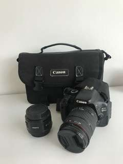 Canon 600D, 50mm 1.8EF, and 18-200mm lens in good condition