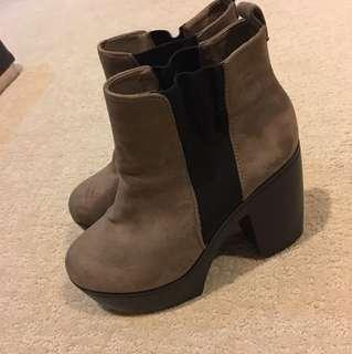 Suede high heel wedged boots