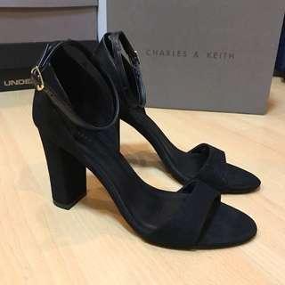 BN Charles & Keith Black Block Heels